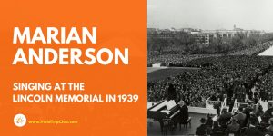 Marian Anderson singing at Lincoln Memorial 1939